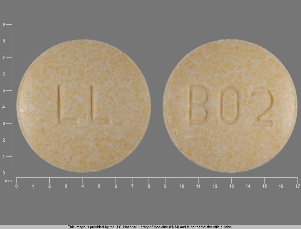 hydrochlorothiazide 12.5 mg lisinopril 20 mg - b02 ; b02 ll ROUND YELLOW image