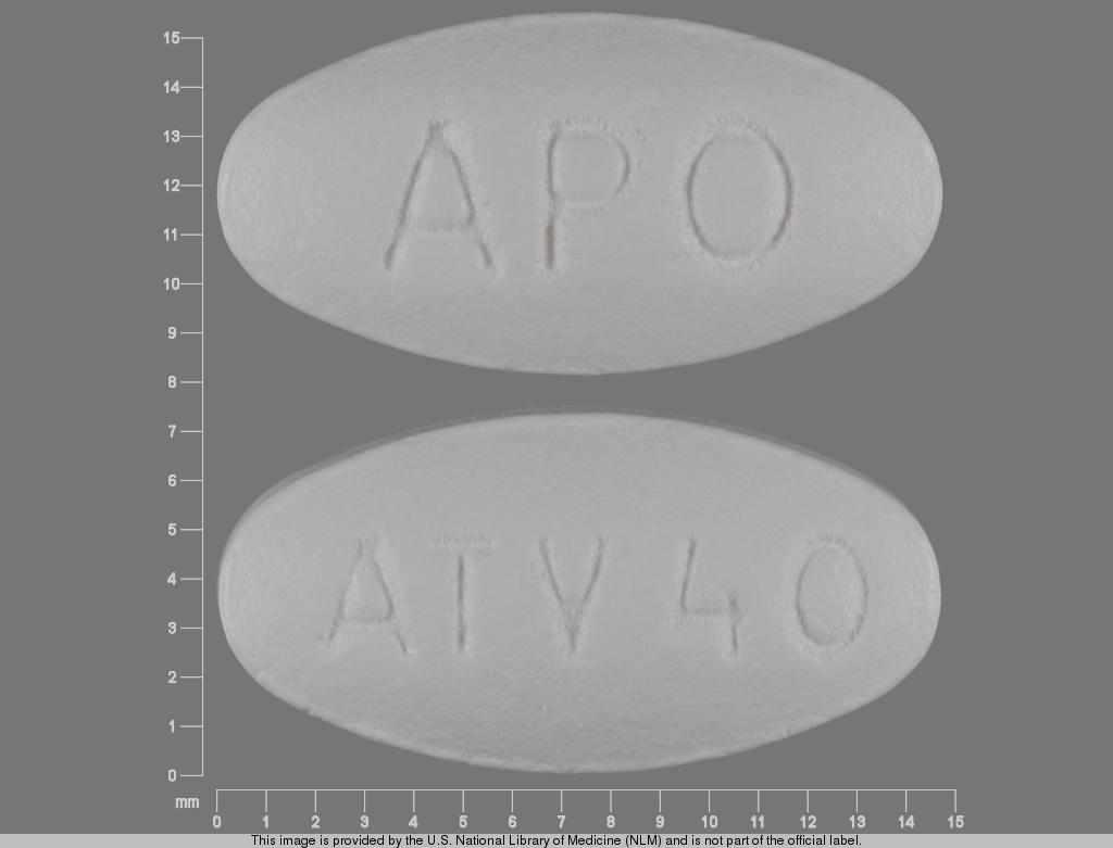 atorvastatin calcium 40 mg - apo atv40 OVAL WHITE image